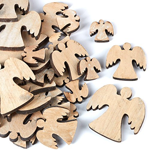 (Factory Direct Craft Laser Cut Unfinished Wooden Angel Cutouts | 60 Ornaments)