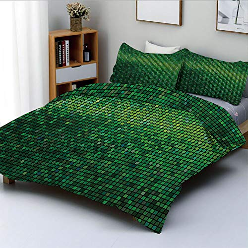 - Duplex Print Duvet Cover Set Twin Size,Abstract Lights Square Pixel Mosaic Design Geometric Technology Theme Digital Grid PrintDecorative 3 Piece Bedding Set with 2 Pillow Sham,Green,Best Gift For Kid