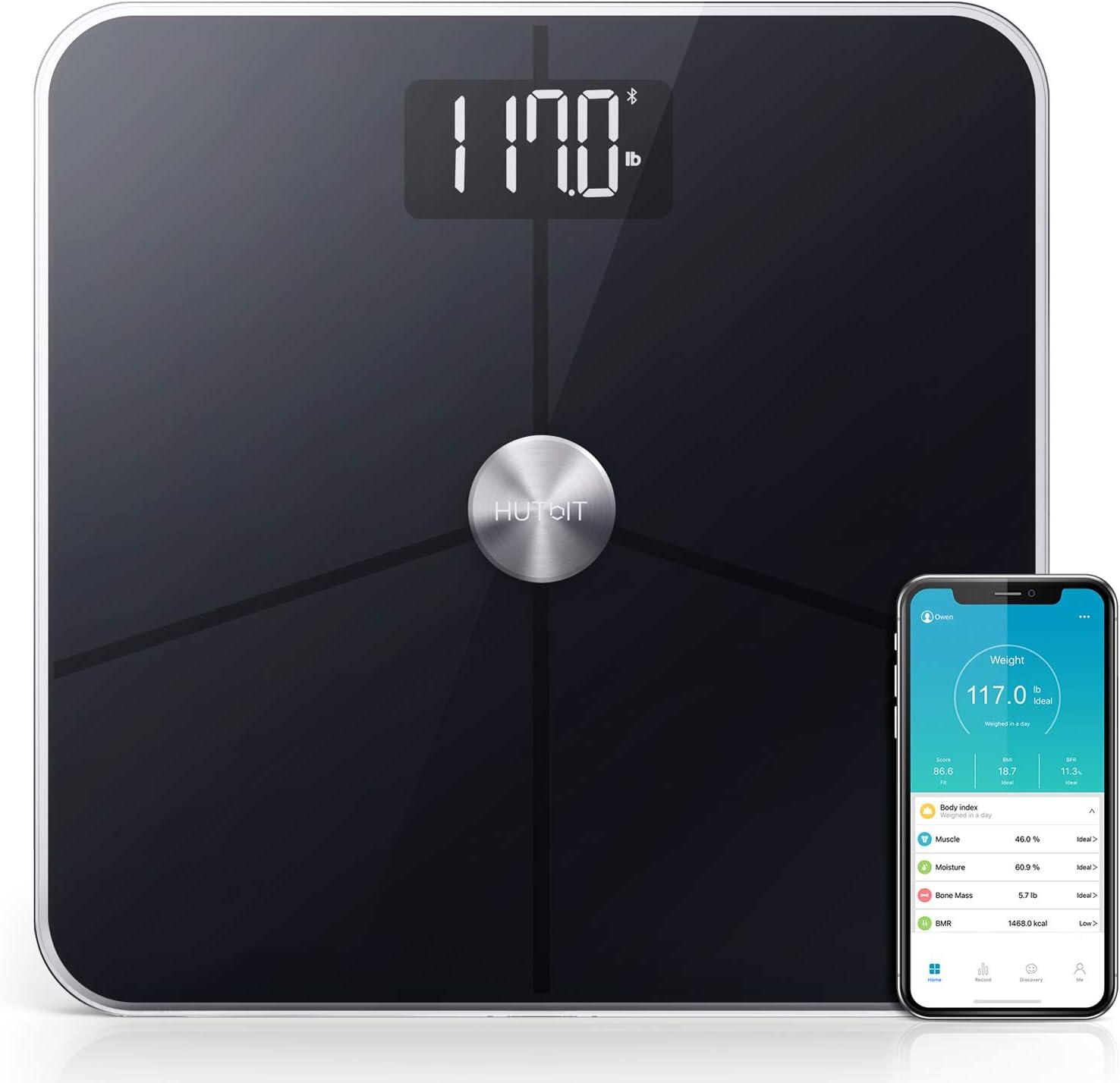 Bascula Grasa Corporal, Báscula HUTbIT BMI Escala de peso de baño ...