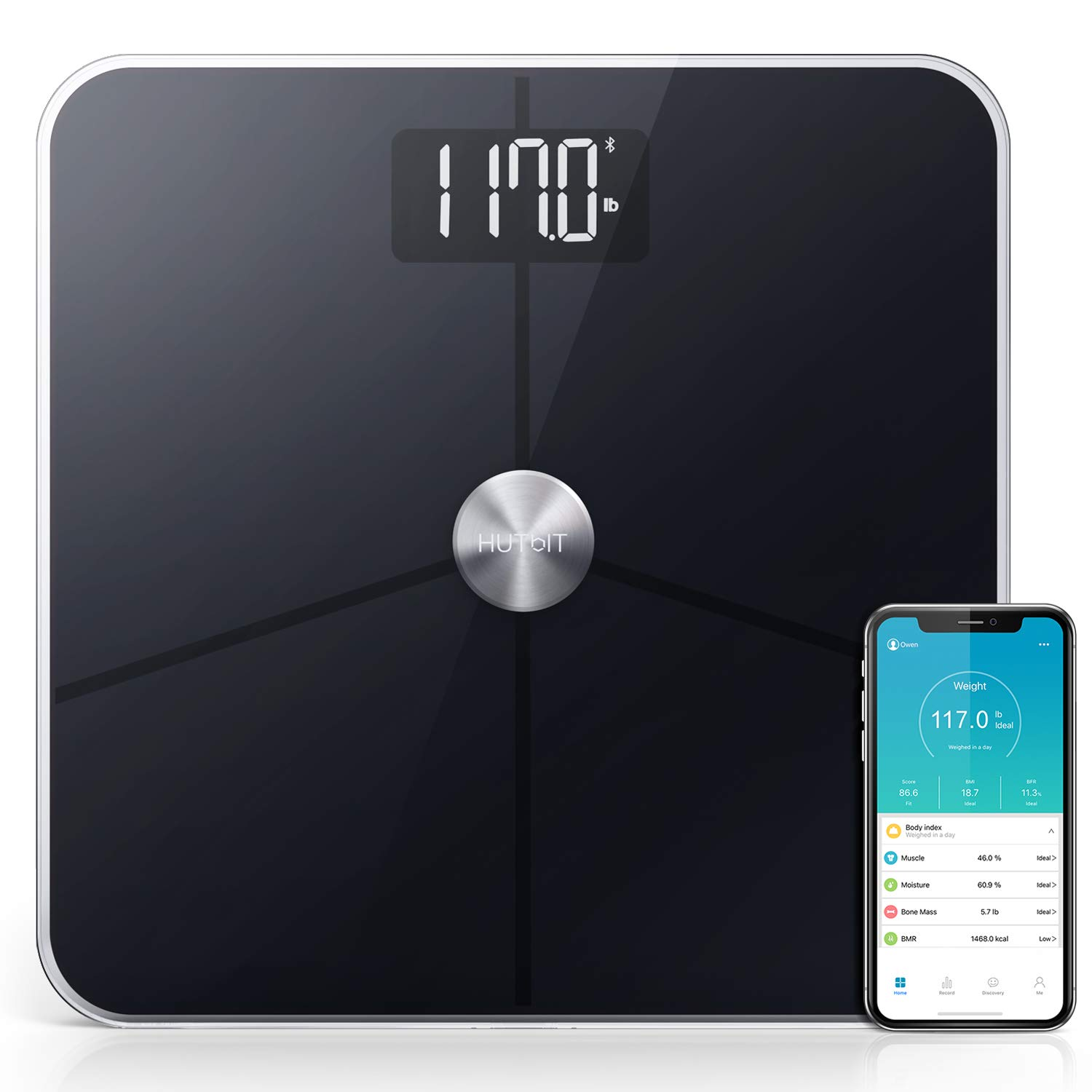 Body Fat Scale,HUTbIT BMI Scale Digital Bathroom Weight Scale Body Composition Analyzer 18 Accurate Measurements Advanced ITO Coating Technology alloyseed
