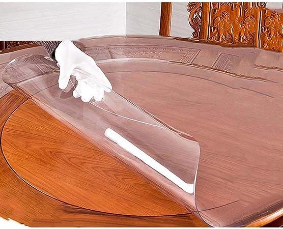 AKZL Redondo Manteles Plástico, Transparente Mesa Redonda Cubierta ...