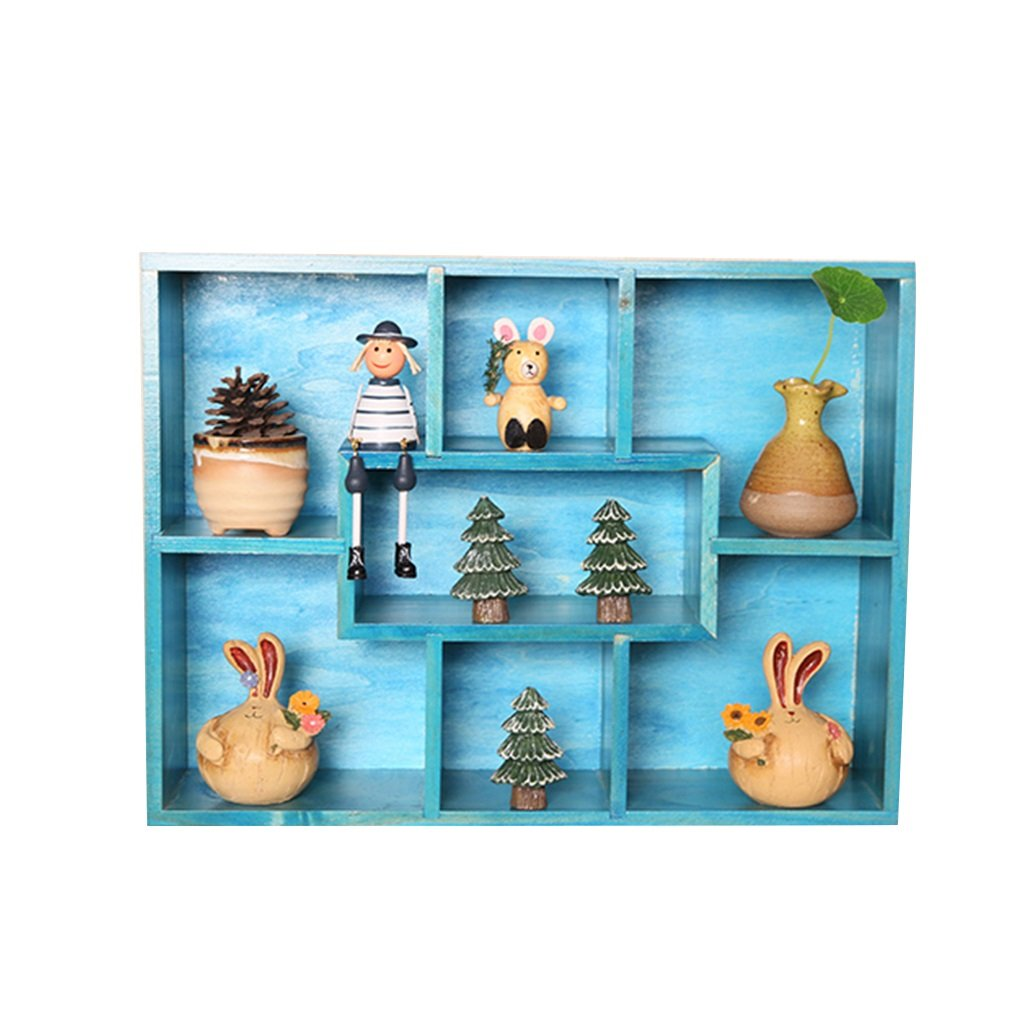 ALUS- Multi-functional Storage Racks Children's Room Decoration Solid Wood Wall Hanging Creative Lattice Background Wall Decoration Floating Frame (Color : Blue)