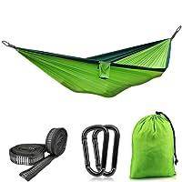 VANWALK 270 * 140CM Hängematte Camping/Hängematte Garten für 2 Personen Ladekapazität von 300 kg + Ultraleicht für Wandern, Reisen, Strand, Grün