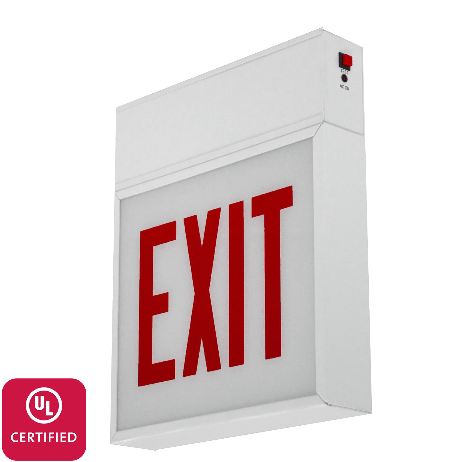 LFI Lights - UL Certified - Hardwired CHI Red Steel Exit Light- Chicago Rated - ALL LED Emergency Sign - CHEX