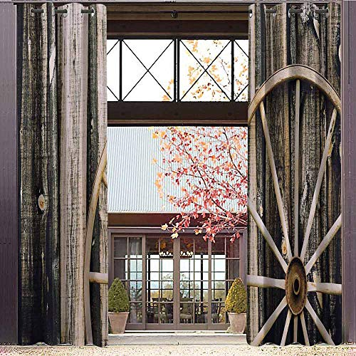 hengshu Barn Wood Wagon Wheel 99% Blackout Curtains Wooden Barn Door and Vintage Rusty Wheel Rustic Home Farm for Bedroom Kindergarten Living Room W84 x L72 Inch Black Light Brown