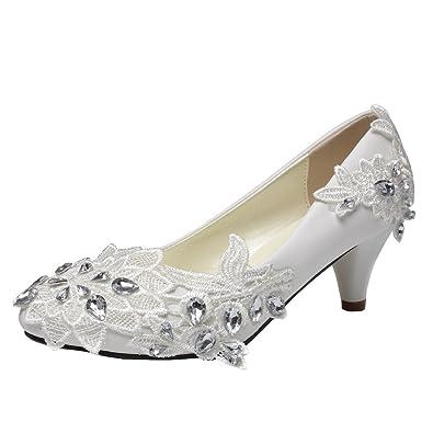 getmorebeauty Women s Kitten Heel Lace Pearls Glitter Wedding Shoes 5 B(M)  US White ad83eb865d0d
