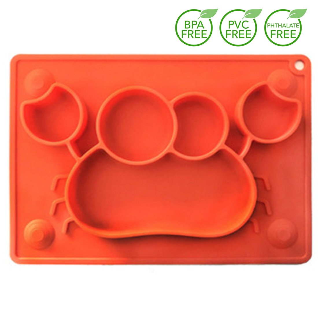QISHENG TRADE Kids Baby Portable Placemat & Divided Suction Plate, Toddler Silicone Crabs-Shaped Placemat Bowls, Non Slip Feeding Mats From Baby Led Weaning, Color Red Canpan-pangxie-red