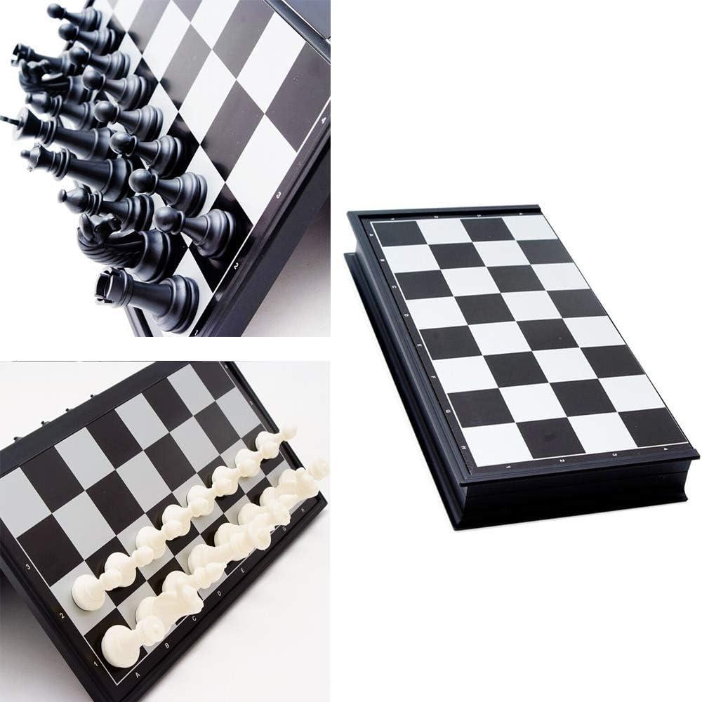 Wohlstand Tablero de Ajedrez Magn/ético Ajedrez y Damas Backgammon Plastico Juego de Ajedrez Plegable y Port/átil Tablero de Ajedrez Las Piezas de Ajedrez para Ni/ños Adulto 25 X 25CM Blanco y Negro