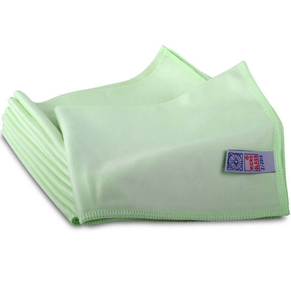 10 Green Microglass Microfibre Cleaning Cloths. Ideal for Smear Free Windows & Stainless Steel - Comes With TCH Anti-Bacterial Pen! by TheChemicalHut