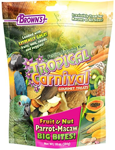 Tropical Carnival F.M. Brown's Fruit & Nut Parrot-Macaw Big Bites! Foraging Treat with Fruits, Veggies, and In-Shell Nuts, (Big Bites Food)