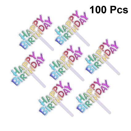 UPKOCH 100 Piezas Feliz cumpleaños Cupcake Toppers plástico ...