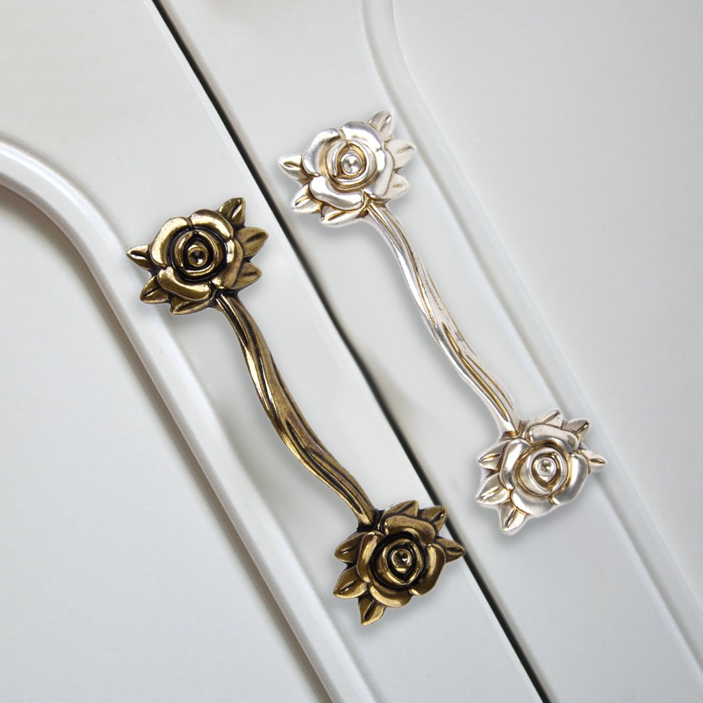 10 x Rose Cupboard Cabinet Wardrobe Drawer Door Pull Handle Anti-Silver by Generic by Generic
