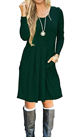 13ac7e76ff91 JOSIFER Womens Long Sleeve Casual Tshirt Holiday Swing Loose Cute Dress  with Pockets Dark Green