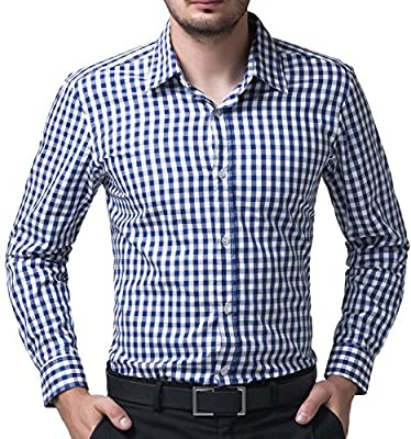 Casual Slim Fit Plaid Dress Shirts for Men Long Sleeve