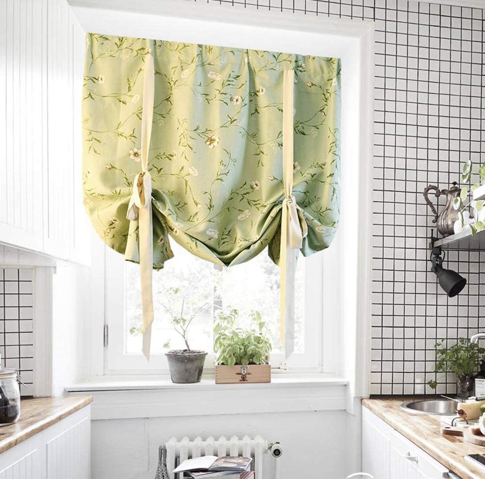 Tie Up Curtains for Windows Linen Textured Adjustable Tie-up Green Shade Kitchen Floral Printed Tie-up Valance Blackout Tie Up Shades Home Decor Rod Pocket Panel Adjustable Balloon Curtain,2 Piece