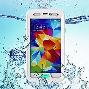 Galaxy S5 Case, BenGoo Latest Generation IPX68 Waterproof Shockproof Shock Proof Snow Proof SnowPoof DirtProof Dirt Proof Heavy Duty Full Body Skin Crystal Case for Samsung Galaxy S5 i9600 - Button Function Is Available-White