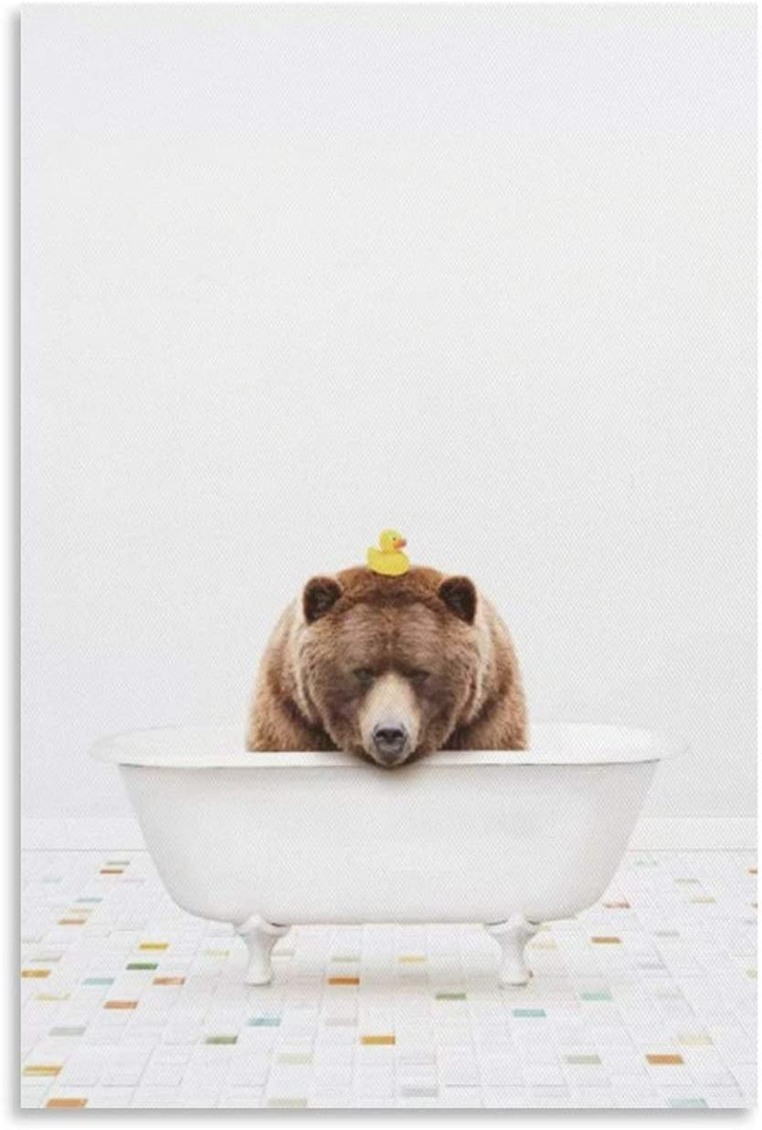 widnah Big Brown Bear in A Vintage Bathtub with Rubber Ducky Canvas Art Poster and Wall Art Picture Print Modern Family Bedroom Decor Posters 12x18inch(30x45cm)