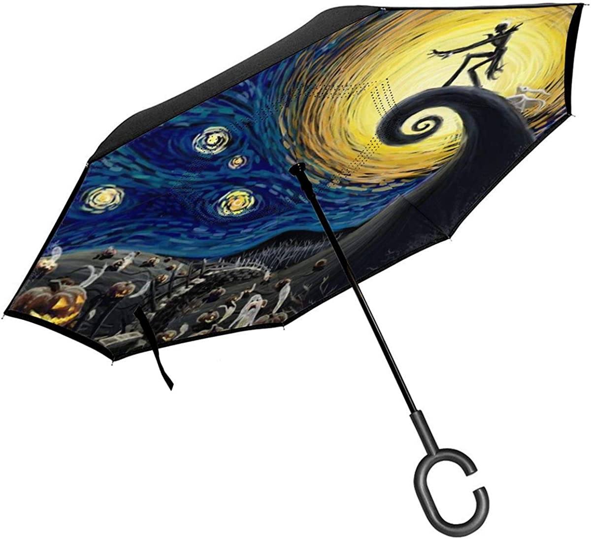 Dino In Scandinavian Style Double Layer Windproof UV Protection Reverse Umbrella With C-Shaped Handle Upside-Down Inverted Umbrella For Car Rain Outdoor