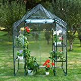 Sundale Outdoor Gardening Portable 2 Tier 4 Shelf Steeple Greenhouse with PVC Cover, Hot Green House, 56.5″(L) x 29″(W) x 75.5″(H)