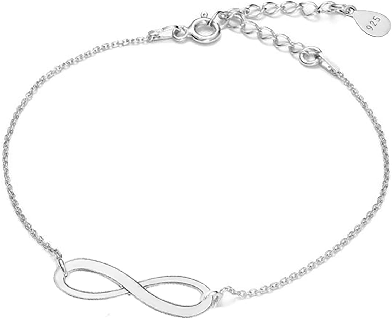 925 Sterling silver Charm Infinity Symbol Bracelet  Adjustable Length