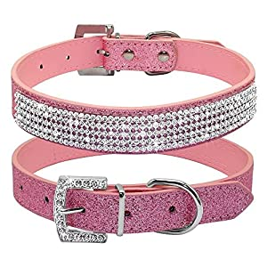 best Beirui Christmas Bling Rhinestone Leather Dog Collar - Crystal Studded for Dog & Kitty Cat