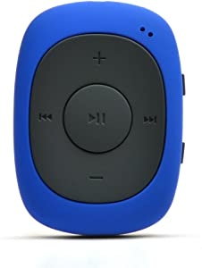 AGPTEK G02 8GB Clip MP3 Player with FM Shuffle, Portable Music Player with Sweatproof Silicone Case for Sports, Blue