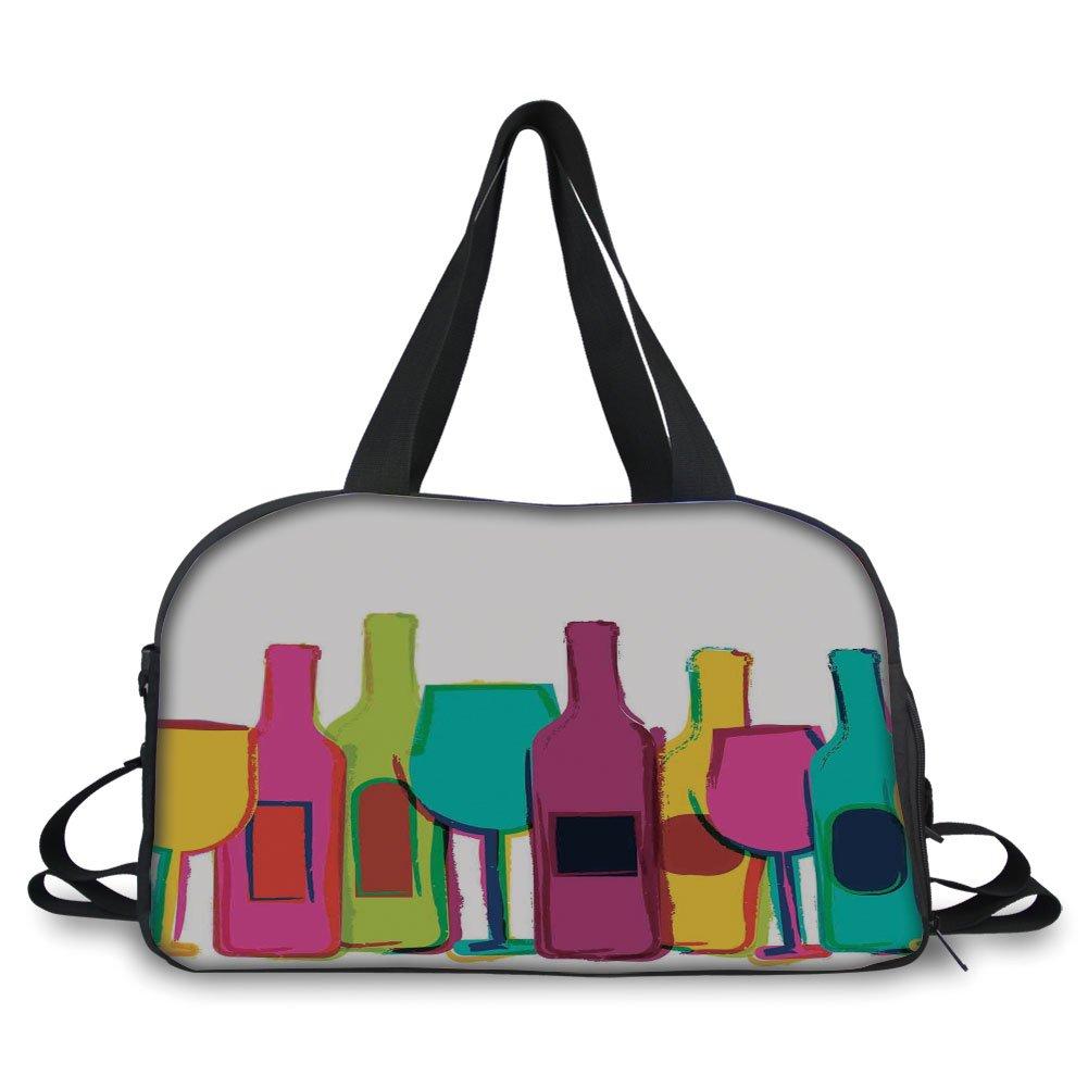 iPrint Travel handbag,Kitchen Decor,Pop Art Wine Bottles and Glasses Background Bar Party Happy Hour Retro Design,White Pink Blue Green ,Personalized