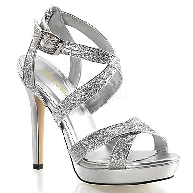 30aa4867dead73 Fabulicious Lumina-21 sexy Burlesque High Heels Plateau Sandaletten Glitter  Silber 35-42