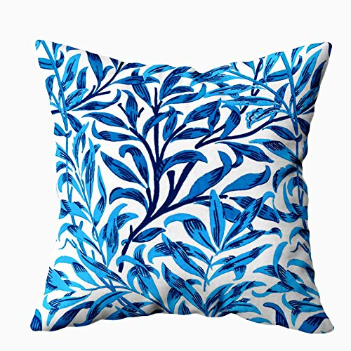 EMMTEEY Home Decor Throw Pillowcase for Sofa Cushion Cover, Halloween William Morris Willow Bough Cobalt Blue Decorative Square Accent Zippered and Double Sided Printing Pillow Case Covers 20X20Inch ()