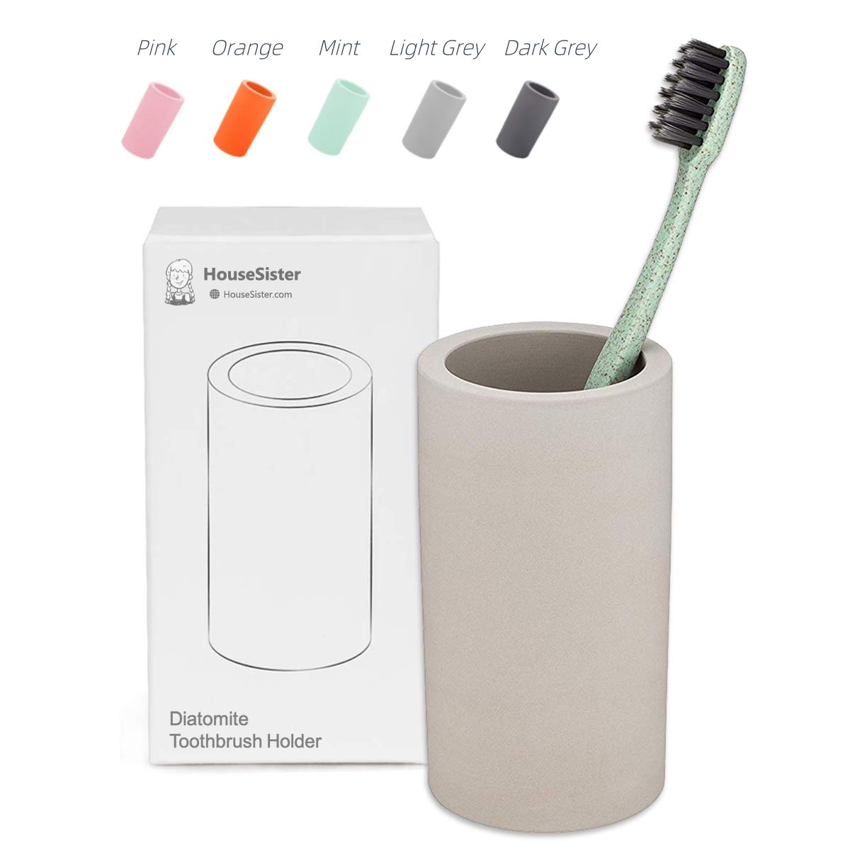 HouseSister Organic Diatomite Toothbrush Toothpaste Makeup Brushes Razors Holder Grey Bathroom Countertop Organizer Stand Cup Organizer (Light Grey)