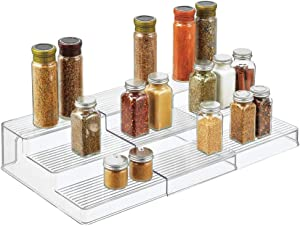 mDesign Plastic Spice and Food Kitchen Expandable Cabinet Shelf Organizer - 3 Tier Storage - Modern Compact Caddy Rack - Holds Spices/Herb Bottles, Jars - for Shelves, Cupboards, Refrigerator - Clear