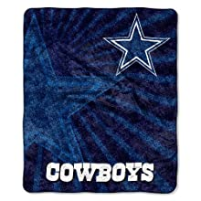 "NFL Dallas Cowboys 50-Inch-by-60-Inch Sherpa on Sherpa Throw Blanket ""Strobe"" Design"