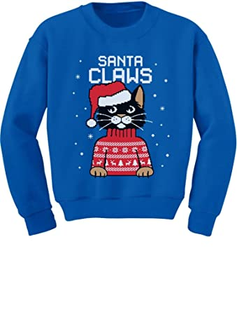 49879f8fcf8cd4 Santa Claws Cat Ugly Christmas Sweater Toddler/Kids Sweatshirts 2T Blue
