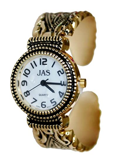 JAS damas chapado oro pulsera brazalete reloj Metal antiguos Marcasita estilo batería Extra: Amazon.es: Relojes