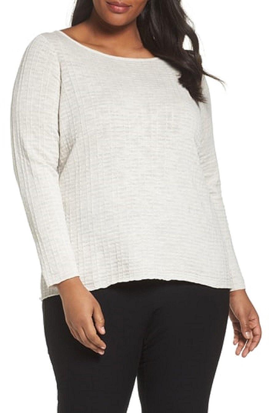 8530cd5a605 Eileen Fisher Bone Organic Linen/Cotton Slub Scoop Neck Box-Top Size 3X  MSRP 188 at Amazon Women's Clothing store: