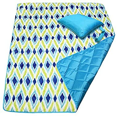 DOZZZ Foldable Waterproof Camping Blanket Water Resistant Picnic Blanket Portable Beach Blanket Emergency Blanket Tote Park Mat Outdoor Blanket Travel Picnic Blanket Portat 60 x 50 Inches, Green Blue