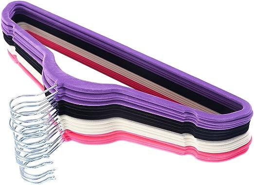 10PCS Thin Flocked Non Slip Velvet Clothes Suit//Shirt//Pants Hangers Black