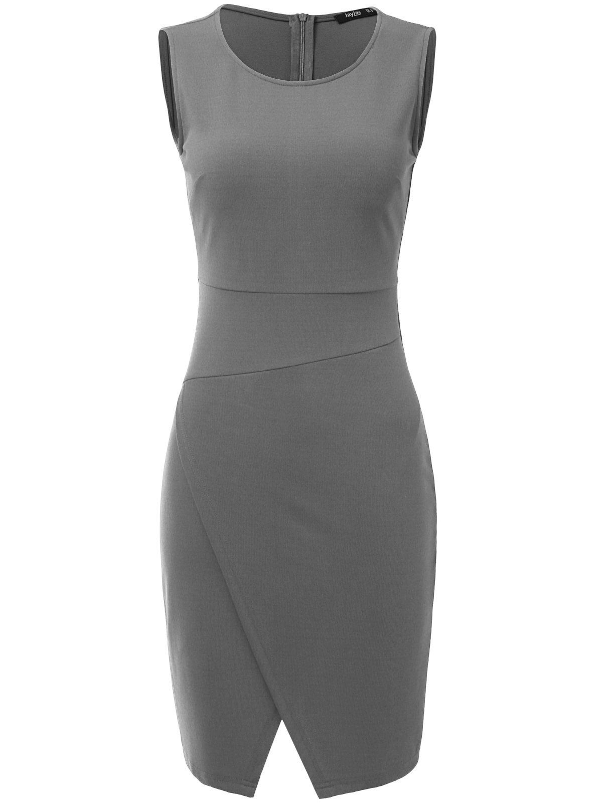 JayJay Women Wear to Work Business Sleeveless Slim Cocktail Pencil Wrap Skirt Dress,Gray,2XL by JayJay Company