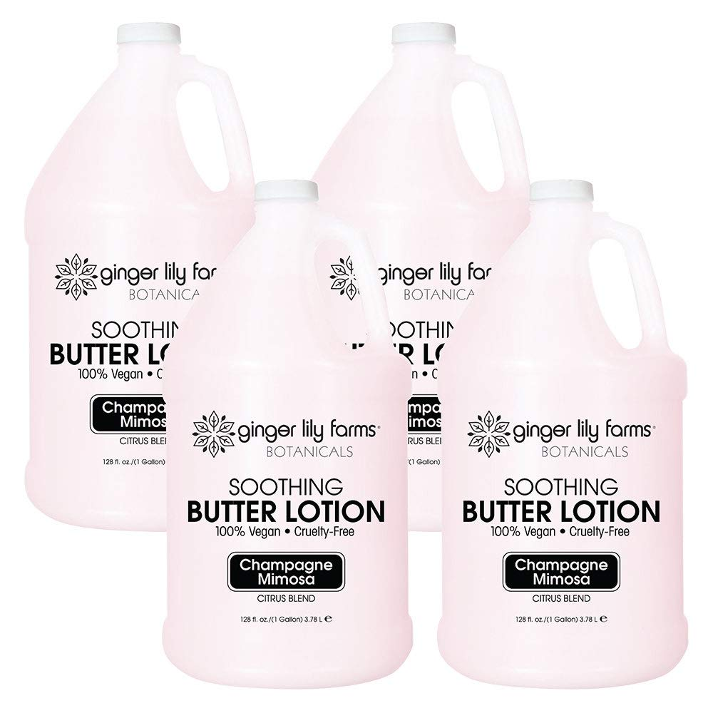 Ginger Lily Farms Botanicals Champagne Mimosa Soothing Butter Lotion, 100% Vegan, Paraben, Sulfate, Phosphate, Gluten & Cruelty-Free, 1 Gallon (Case of 4)
