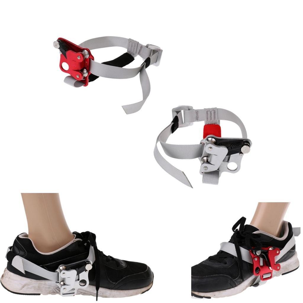 monkeyjackシルバー/レッド安全足Ascenderライザーロッククライミング登山ギアデバイス機器ツールプロテクターアクセサリーfor左/右足 B071HN4WGT Silver and red, for double foot Silver and red, for double foot