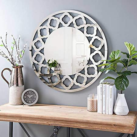 KOHROS Art Decorative Wall Mirrors Large Accent Venetian Mirror for Hotel Home Vanity Sliver Mirror 31.5 Cricle