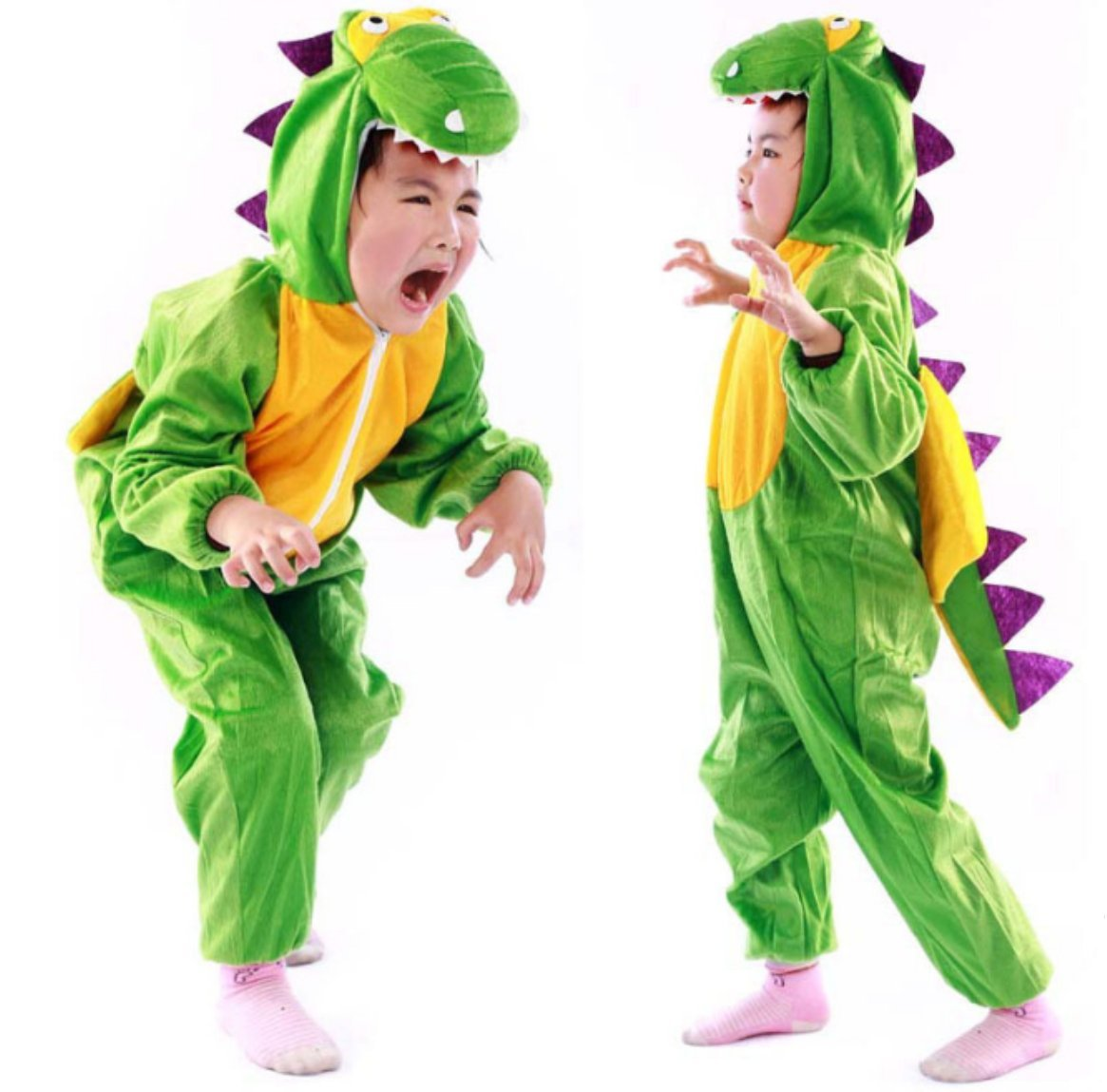 Children Party Costume Cartoon t-rex Costume Funny Clothes Performance Kids Dinosaur Cosplay Costume (M(Height 35.4''-41.3''/90cm-105cm), Dinosaur)
