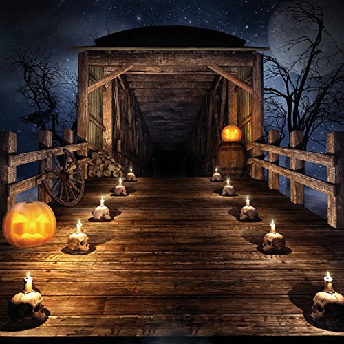8x8ft Halloween Horror Nights Moon & Mysterious Forest Hut & Costume Party Masquerade Decoration Photo Backdrops CP Customized Studio Background Studio Props WSJ-118 -