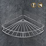 ODesign Corner Shelf Bathroom Adhesive Shower Caddy Basket Wall Mounted Storage Organizer for Kitchen Toilet SUS304 Stainless Steel - No Drilling
