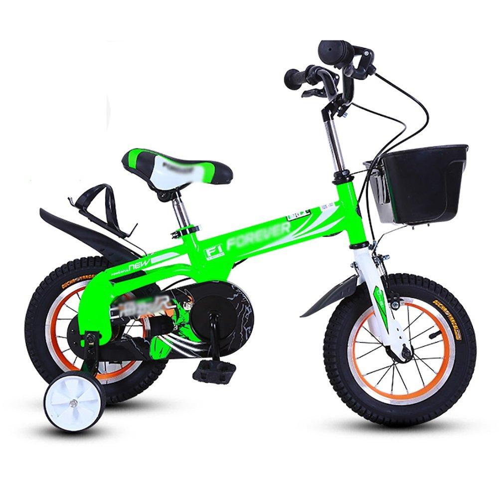 子供の自転車12 14インチの男の子と女の子子供の自転車2-5-8歳のベビーカーの生徒の自転車自転車緑青赤 B07DXB61K6 12 inch|緑 緑 12 inch