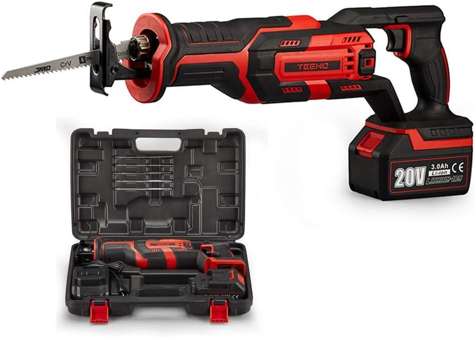 Avec 3Ah Batteries,Boite en plastique 5/×Lames de Scie Scie Ego/îne Electrique sans Fil Scie Sabre sans fil TEENO,20V Scie Sabre /à Batterie