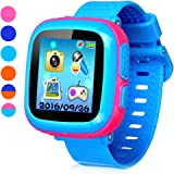 """Game Smart Watch for Kids, Children's Camera 1.5 """"Touch Screen Pedometer 10 Games Timer Alarm Clock Health Monitor Boys Girls Game Watches(Joint Light-Blue&Pink)"""
