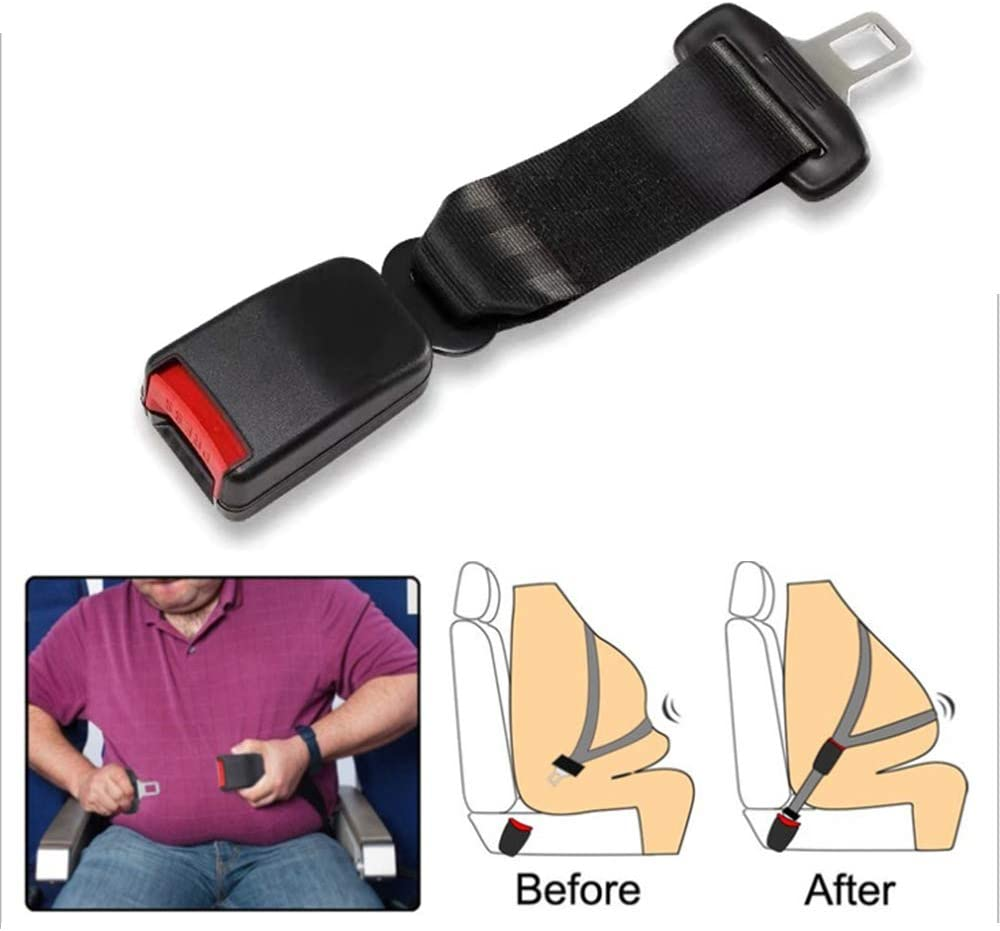 pack Black 2 Width 7//8 inch Metal Tongue Belt Extension Safety Certified Extender for Cars