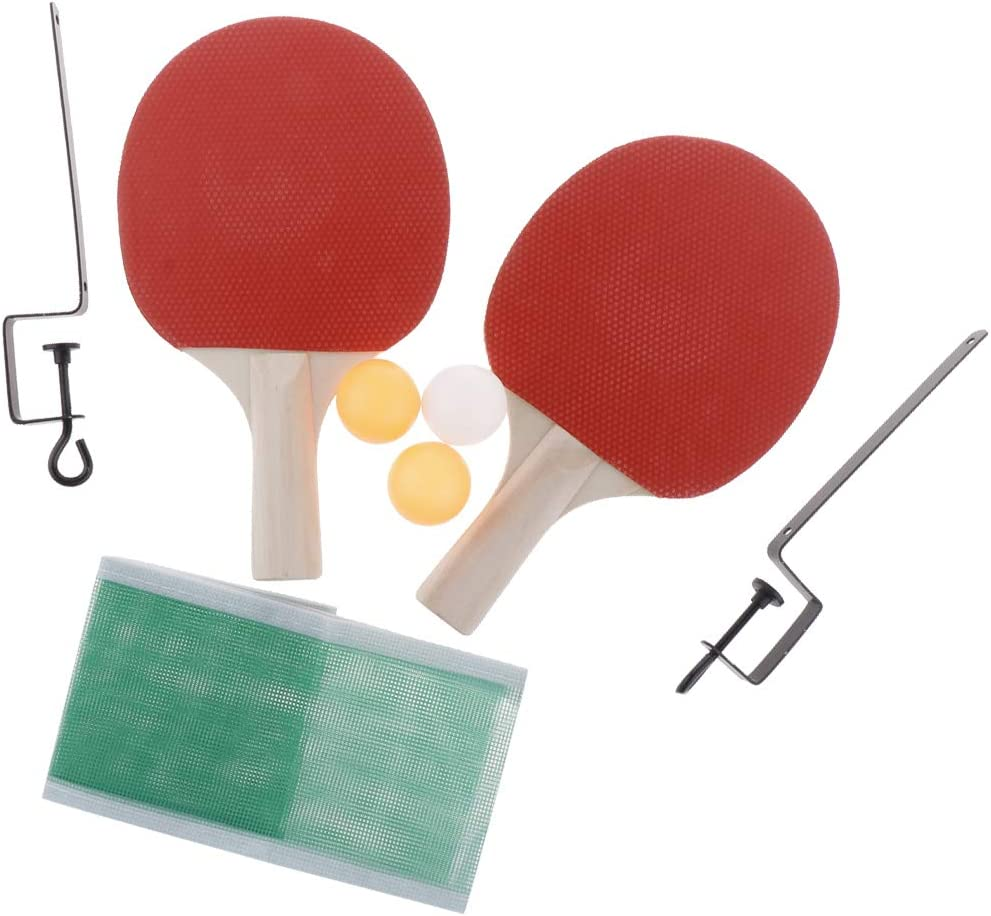 Baoblaze Juego de 2 Raquetas de Ping-Pong + Accesorios de Pelota y Red de Tenis de Mesa