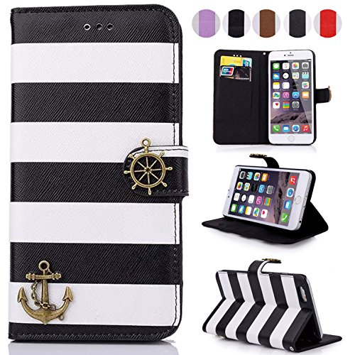 iPhone 6S/6 Case,Dteck(TM) Colorful Stripes Anchor Rudder Premium Leather Case Flip Stand Magnetic Flap Closure Cover [with Card Slots] for Apple iPhone 6S/6 4.7 inches (04 Black)